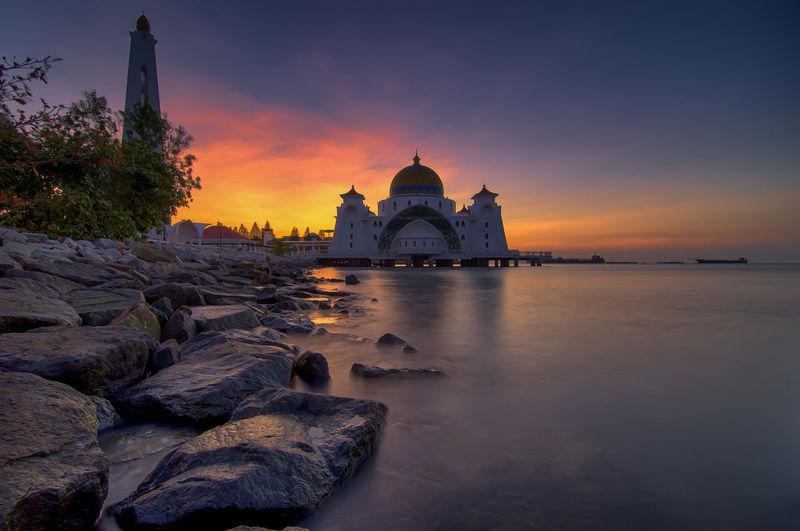 Sunrise at malacca straits mosque