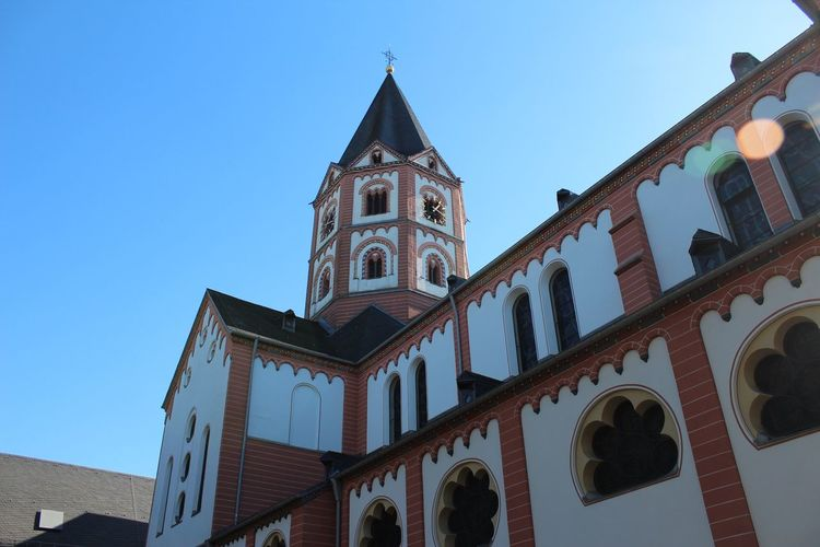 Church Kirche Building Exterior Built Structure Sky Architecture Low Angle View Building Religion Place Of Worship Nature Clear Sky Spirituality Belief Blue Travel Destinations Outdoors Spire  No People Tower Day