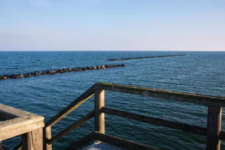 Water Sea Sky Horizon Horizon Over Water Wood - Material Tranquil Scene Tranquility Scenics - Nature Nature Beauty In Nature Day No People Railing Blue Outdoors Idyllic Clear Sky Pier Groyne