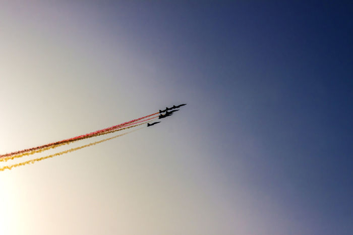 Turkish acrobatic aviation squadron flying over Izmir (Turkey) Airshow Backlight Flying High Freedom High Liberation Turkey Acrobacy Acrobatic Air Vehicle Airplane Airshow Anniversary Fighter Plane Flying Formation Flight Military Airplane Performance Sky Speed Sunset Teamwork Travel Turkish