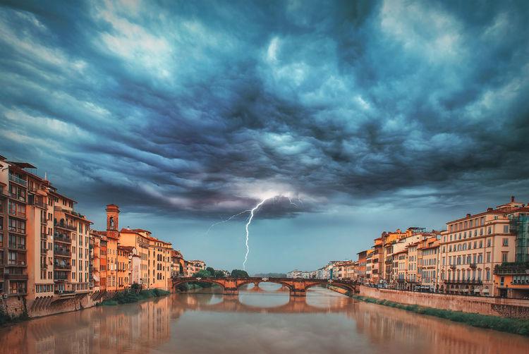 Canal amidst buildings against dramatic sky