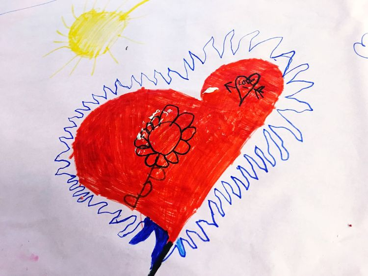 Love Red Heart Shape Paper Sun Classroom Moments Kids Art Child's Art Art Work Creativity Classroom Childhood School Childhood Memories Art Children's Art Valentine Valentines Party Valentine's Day  Hand Drawn Flower Classroom Activity Children Handmade Heart Art Is Everywhere