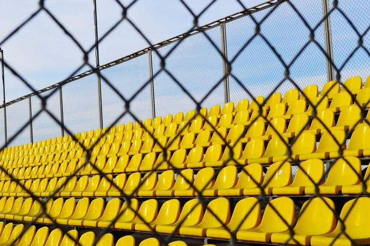 Fence Barrier Chainlink Fence Security Protection Boundary Yellow Safety Metal Sky Day Wire Mesh Pattern Wire Nature Close-up Focus On Foreground Built Structure Architecture