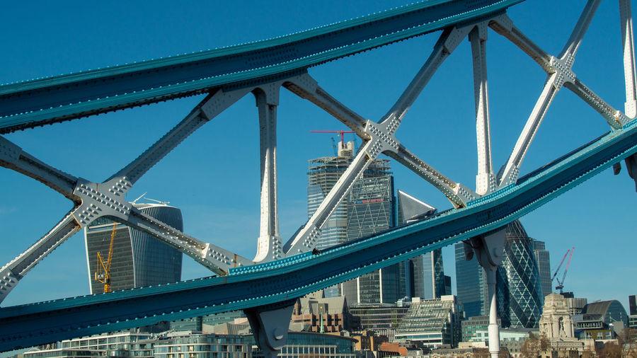 Walkie talkie and gherkin through tower bridge thames london