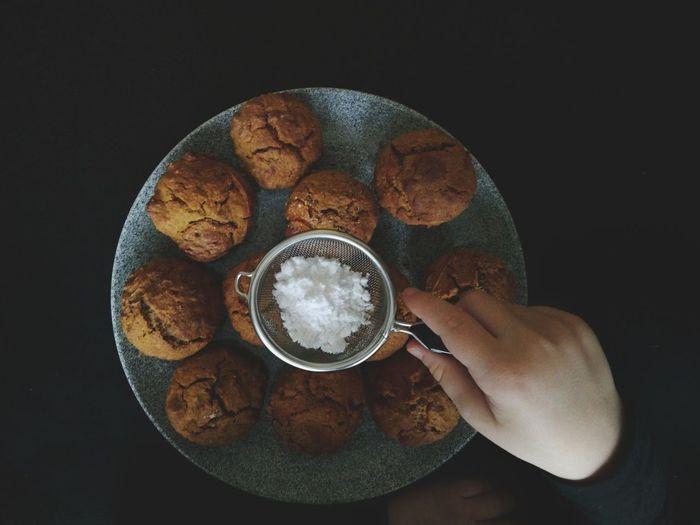 Sugar Muffins Kids Hands Kids Baking Human Hand Black Background Studio Shot Holding Directly Above Close-up Prepared Food