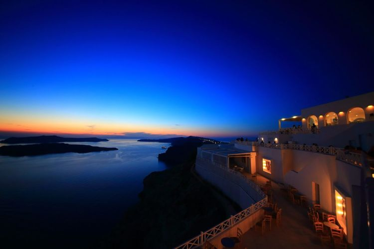 Sunset Blue Sea Travel Destinations Tourism Sky Horizon Over Water Landscape Beauty In Nature Tranquil Scene