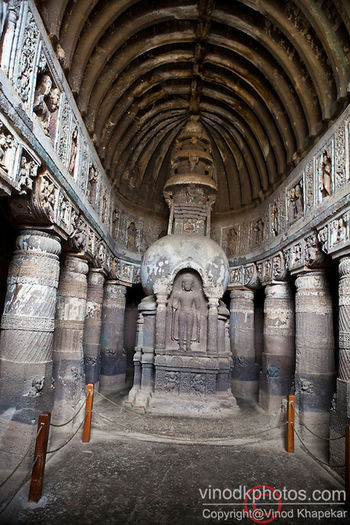 Ajanta & Ellora caves built in stone carvings & hall Architecture
