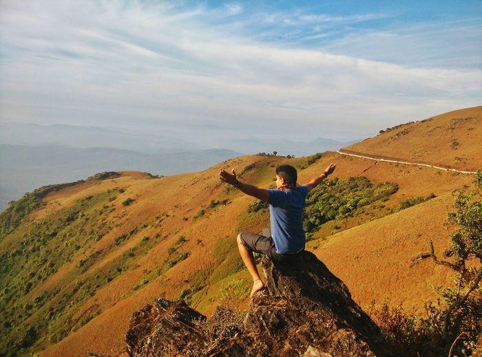 Enjoying the scenery Mullayanagiri Mountain Mountain Peak Mountain View Mountains And Sky Hiker Hiking Pursuit - Concept Mountain Climbing Looking At View Explorer My Best Photo