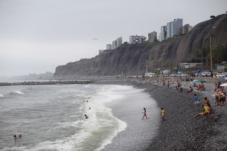Peru Lima Sky Sport Sea Water City Architecture Building Exterior Motion Built Structure Beach Real People Nature Group Of People Wave Leisure Activity Lifestyles Day Aquatic Sport Surfing Outdoors