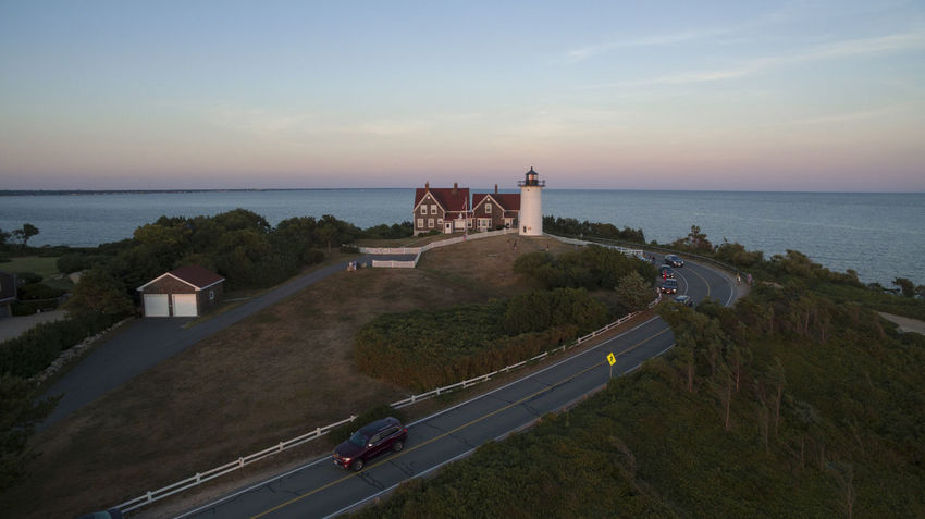 Nobska Lighthouse - Falmouth (Woods Hole) MA Cape  Cape Cod Drone  Dronephotography Falmouth Gradient High Angle View Horizon Over Water Lighthouse Massachusetts Nature New England  Outdoors Scenics Sea Sky Summer Sunrise Sunset Water