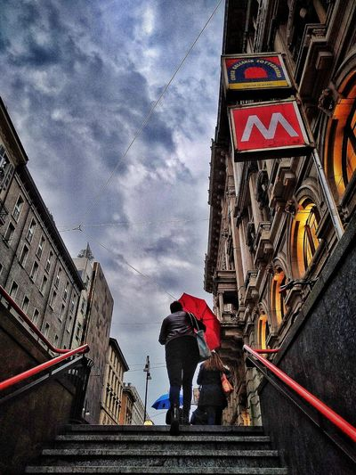 Via Torino, Milano, Ottobre 2018 Hdr_Collection City Sky And Clouds Street Commuting Stairs Metro Station Architecture Building Exterior Built Structure