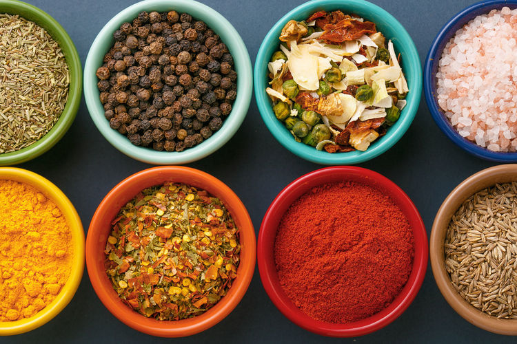 Directly above shot of spices in bowl arranged on table