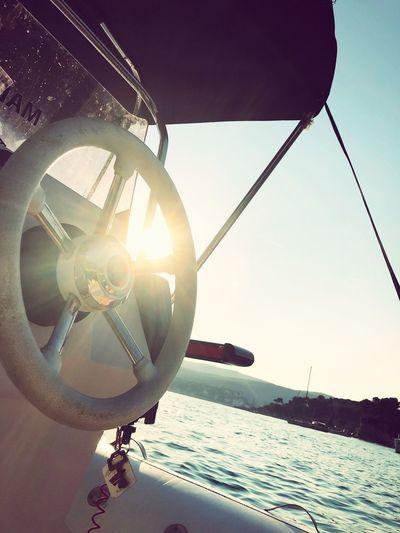 IPhoneography EyeEmNewHere Sky Water Nature Sea Sunlight Clear Sky Transportation Sunbeam Sun Nautical Vessel Lens Flare