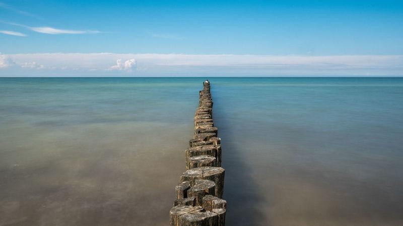 Aussicht Blau Buhne 15 Darß Entspannung Ferne Himmel Horizont  Küste Langzeitbelichtung Menschenleer Natur Ostsee Reiseziel Ufer Urlaub Weite Wolken Zingst