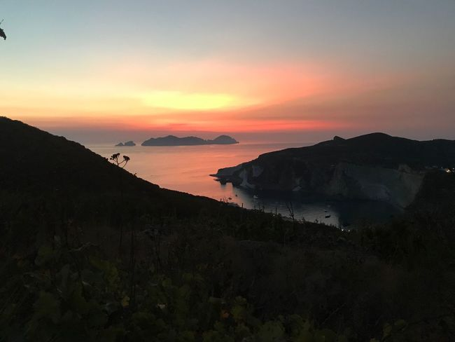 Sunset Beauty In Nature Scenics Nature Sea Tranquil Scene Tranquility Water Sky Mountain Outdoors No People Horizon Over Water Beach Day Ponza Italy
