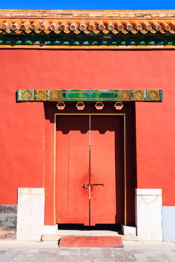 Architecture Entrance Red Built Structure Building Exterior Door Day No People Text Building Wall - Building Feature Outdoors Closed Religion Communication History Gate Travel Destinations Ornate