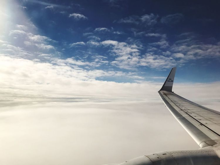 Sky. Sky Cloud - Sky Transportation Airplane Nature No People Day Scenics Outdoors Beauty In Nature Airplane Wing Plane KLM