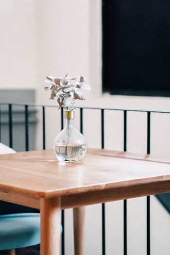 Flower in vase on table at home
