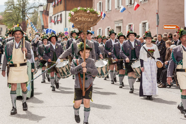Miesbach, Bavaria, Germany, 04 May 2014: Company of the mountain troops from the Jachenau with drummers and Make Dente gutters Mountain Protect Kompanie Patronatstag Adult Adults Only Celebration City Crowd Day Large Group Of People Marching Men Miesbach Military Military Parade Military Uniform Mountain Protect Jachenau Musician Outdoors People Real People Street Togetherness Uniform Walking