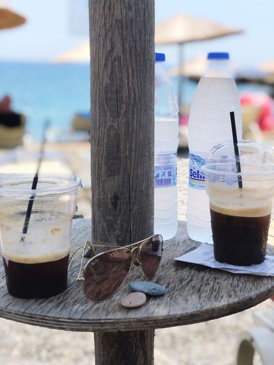 Summer in Greece Krete Greece Focus On Foreground Drink Refreshment Water Day Food And Drink Drinking Glass Close-up Outdoors Wood - Material Beach