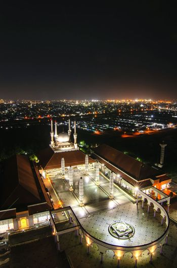 Great Mosque of Central Java City Cityscape Illuminated Politics And Government High Angle View Aerial View Sky Architecture Building Exterior Built Structure Historic Dome Monument Islam Mosque Memorial Mausoleum National Monument History Horizon Over Water Cathedral
