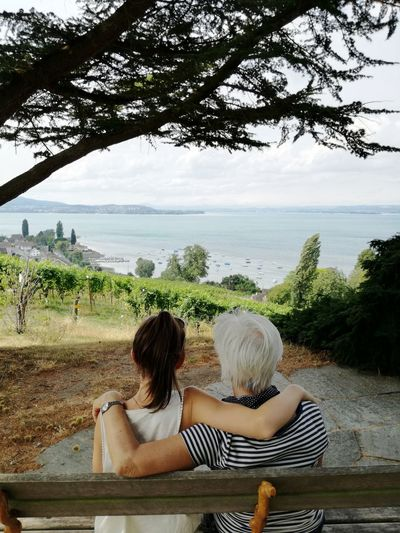 Rear View Of Grandmother And Granddaughter Sitting On Bench Against Sea