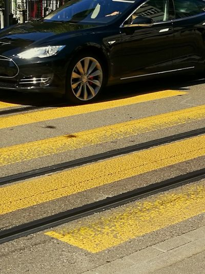 Paint The Town Yellow Tesla Model S Street Car City Pedestrian Crossing
