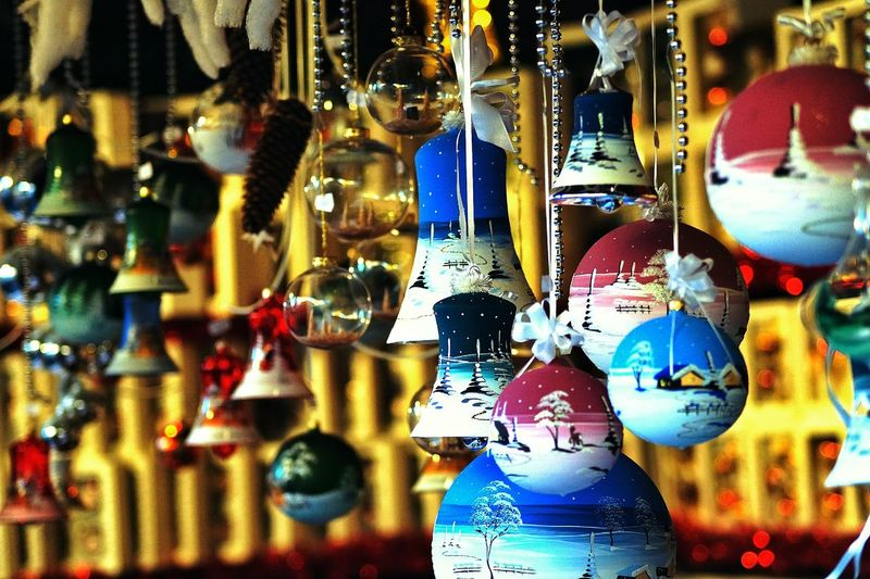 Decorations hanging for sale at market