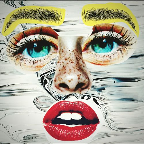 Face Taking Photos Check This Out NYC Followme Follow4follow POTD NYC Photography Face Faces Collage Red Lips Bold Brows Brows  Eyes Blue Eyes Freckles