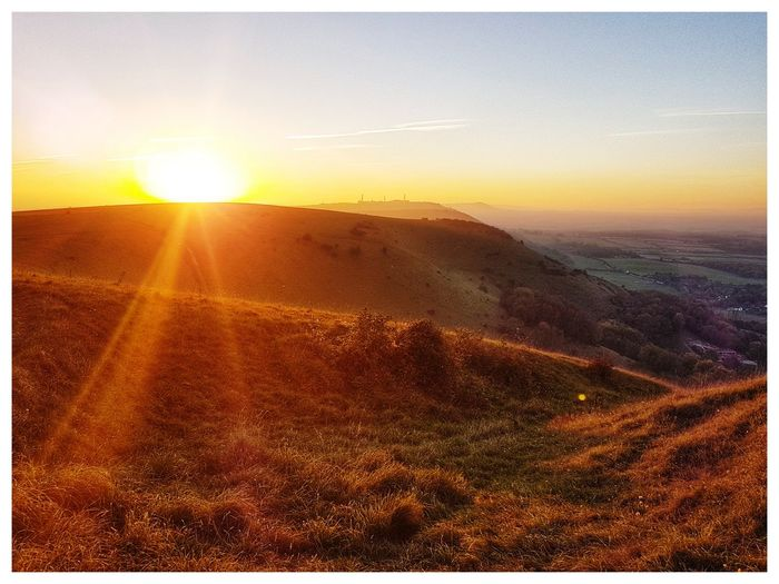 Sussex Downs Devils Dyke Sunset Rural Scene Sunlight Gold Colored Agriculture Sun Field Sunbeam Sky Landscape