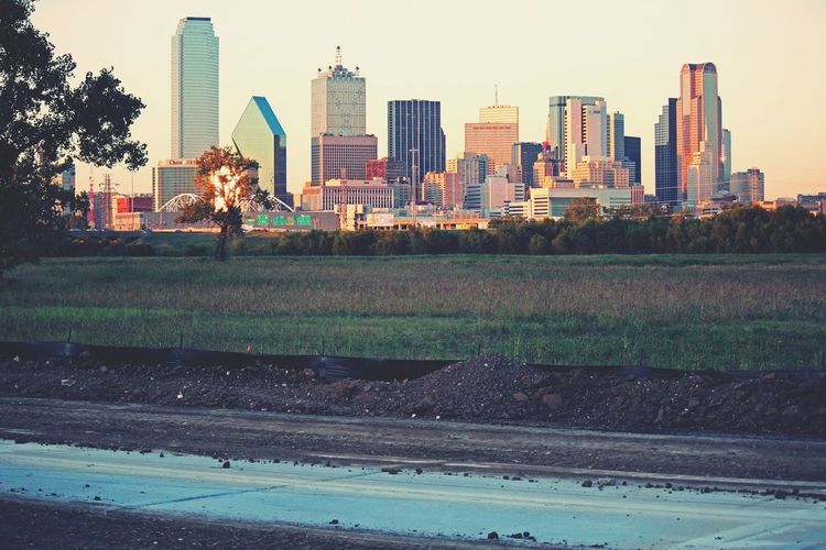 the new bike trail near trinity river, outside of downtown dallas, tx; which is clearly seen from this angle. beautiful colors the evening sun makes, am I right?