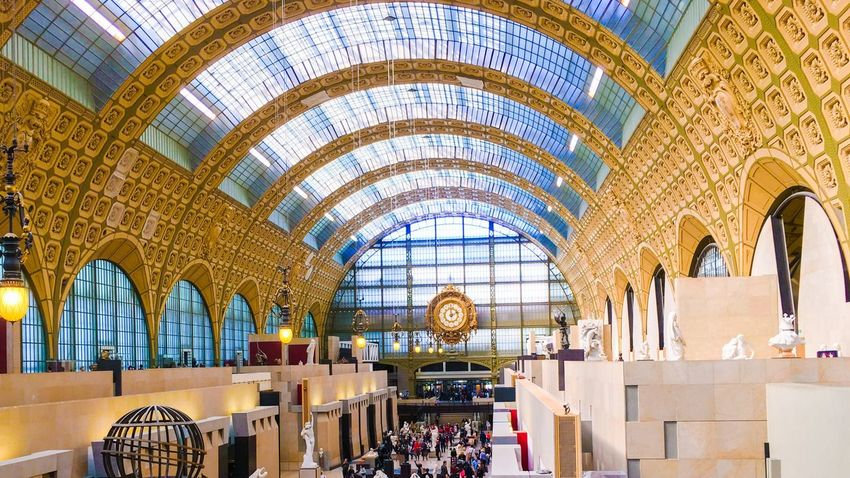 Indoors  Ceiling Architecture Arch Built Structure Travel Destinations Glass - Material Architectural Feature Transportation Famous Place Tourism Travel History Arcade Culture Tourist Arched Day Skylight National Landmark Museedorsay Orsay Museum