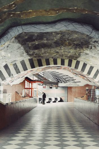 Subway Stockholm Silhouette Architecture Built Structure Building Exterior Building Real People City Day Transportation One Person Lifestyles Rear View Men Full Length Ceiling Tiled Floor 17.62°