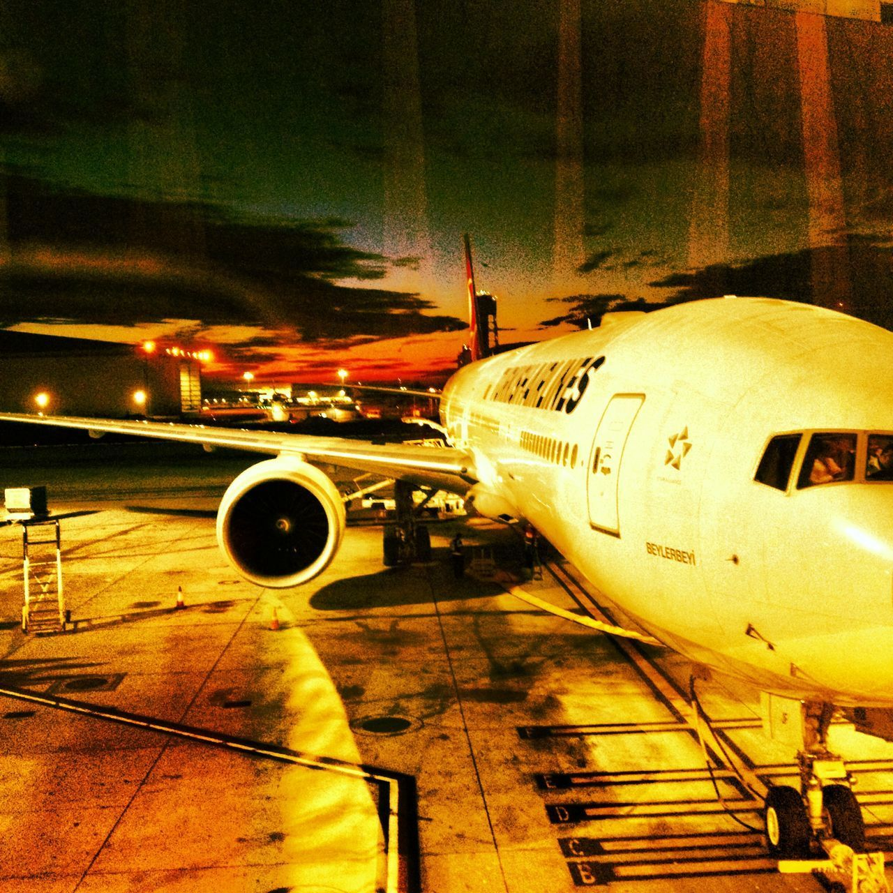 transportation, airplane, mode of transport, travel, airport, air vehicle, airport runway, commercial airplane, journey, public transportation, no people, night, runway, outdoors, airport departure area, aerospace industry