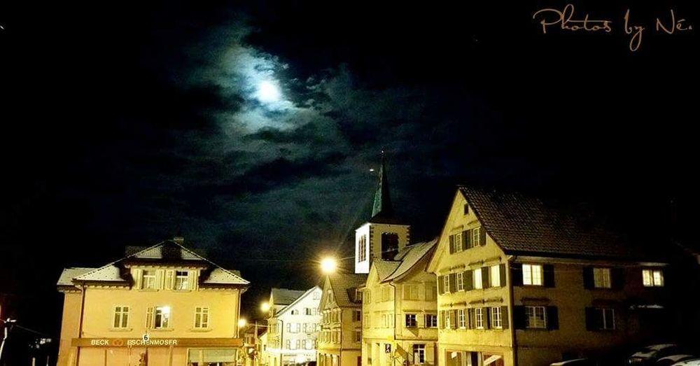 Switzerland Sankt Gallen Berneck Magicnight Church Moonlight Clouds ColdNight