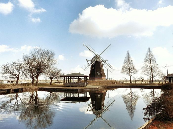 Stillness and Reflections..。 | Reflection Windmill Natural Energy Reflections In The Water あけぼの山農業公園 風車 Built Structure Man-made_perfection Landscape Winter Landscape Bare Tree Trees And Sky Trees Tranquility Outdoors No People EyeEmNewHere EyeEm Best Shots EyeEm Best Shots - Nature EyeEm Gallery Beauty In Nature From My Point Of View