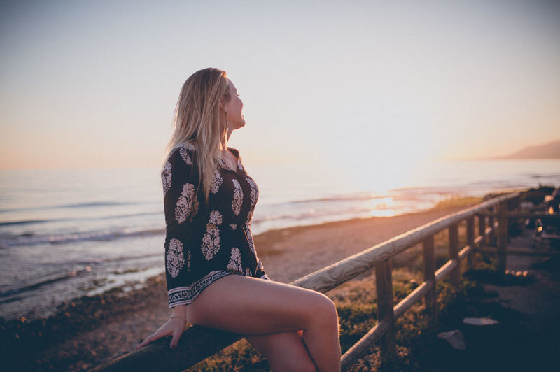 Adult Beach Beautiful Woman Beauty In Nature Blond Hair Clear Sky Day Horizon Over Water Leisure Activity Lifestyles Nature One Person Outdoors People Real People Scenics Sea Sky Sunset Water Young Adult Young Women