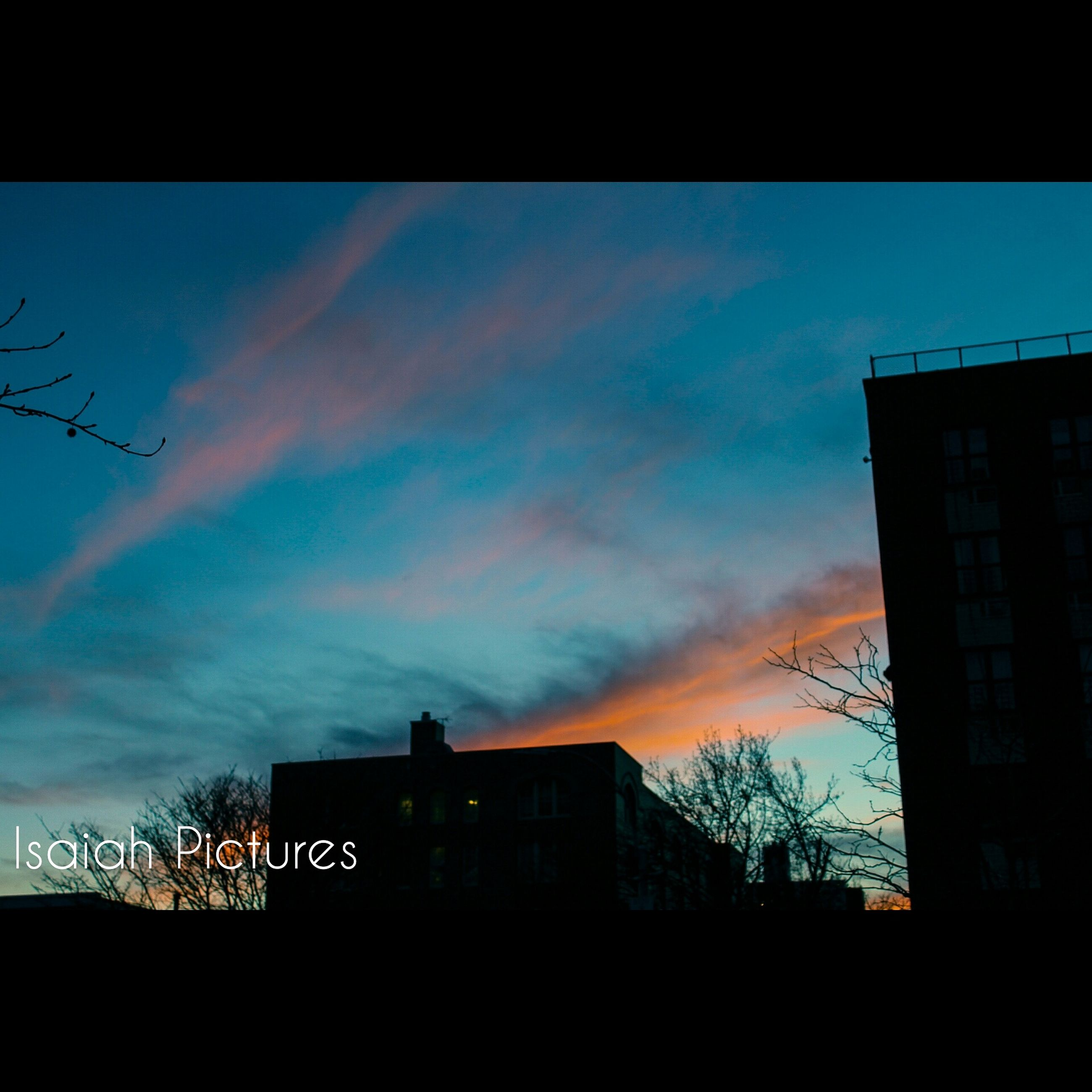 building exterior, architecture, built structure, silhouette, sky, sunset, low angle view, cloud - sky, city, building, residential structure, house, residential building, dusk, cloud, tree, bare tree, no people, outdoors, cloudy