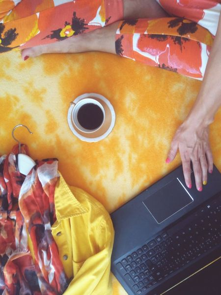 EyeEm Selects Indoors  One Person Human Hand Fresh Colors Feminine Style Styled Stock Styled Stock Photos Styled Photos Orange Color Flatlay Flat Lay Real People Working Notebook Coffee Blogger Freelance Life
