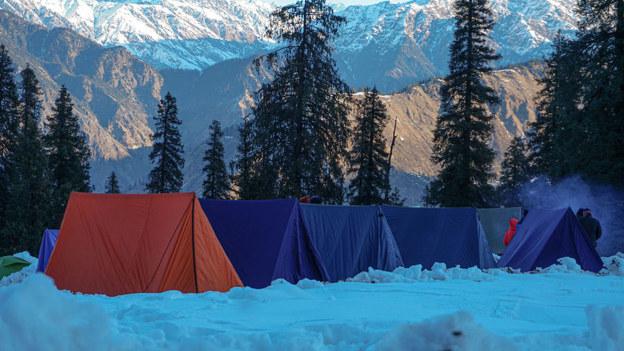 View from tent to wonderful sankari mountain in winter
