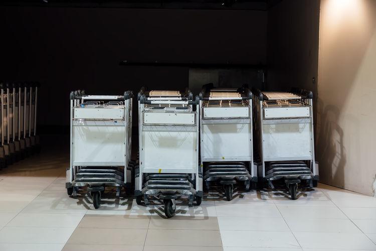 Trolleys in corridor at airport