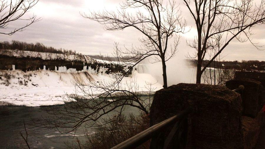 Beautiful Niagara Falls still partially frozen.