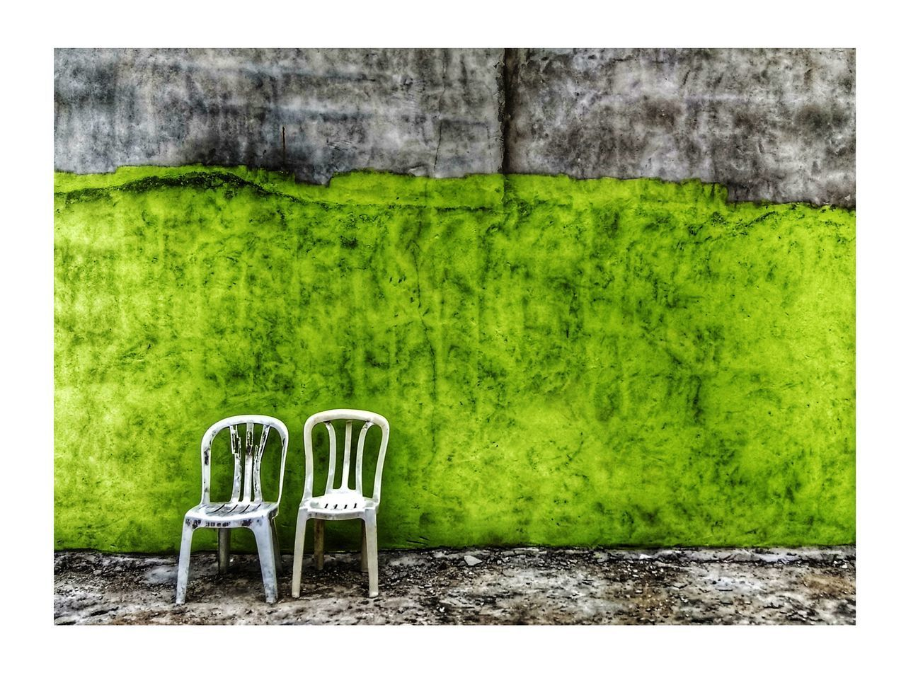 green color, auto post production filter, plant, no people, grass, transfer print, nature, chair, wall, seat, architecture, empty, built structure, outdoors, day, green, wall - building feature, old, growth, absence, concrete