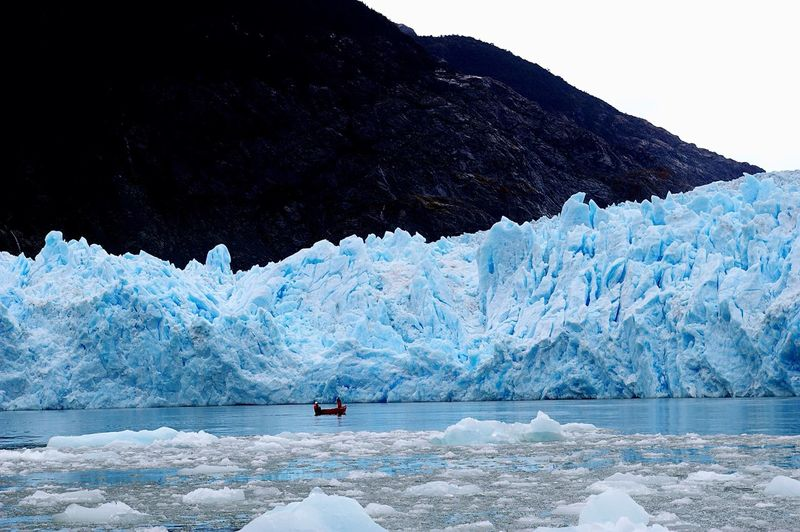 View of glaciers by lake