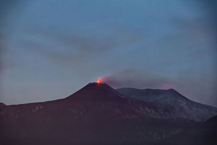 Scenic view of etna volcanic mountain against sky