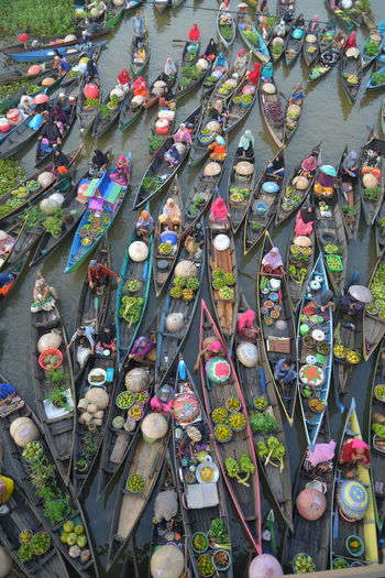 Aerial view of floating market