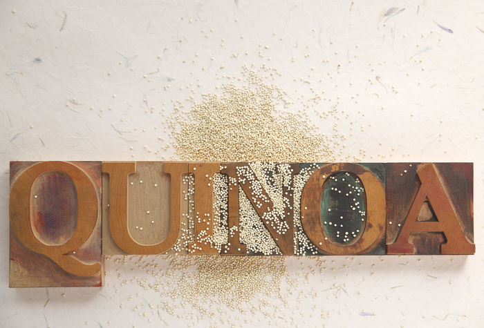 Quinoa with word Backgrounds Close-up Font Food Grain Healthy Eating Indoors  Letters Natural Light No People Overhead Quinoa Textures Type Typeface  Typography Vegan Vegetarian Food Wood Type Word