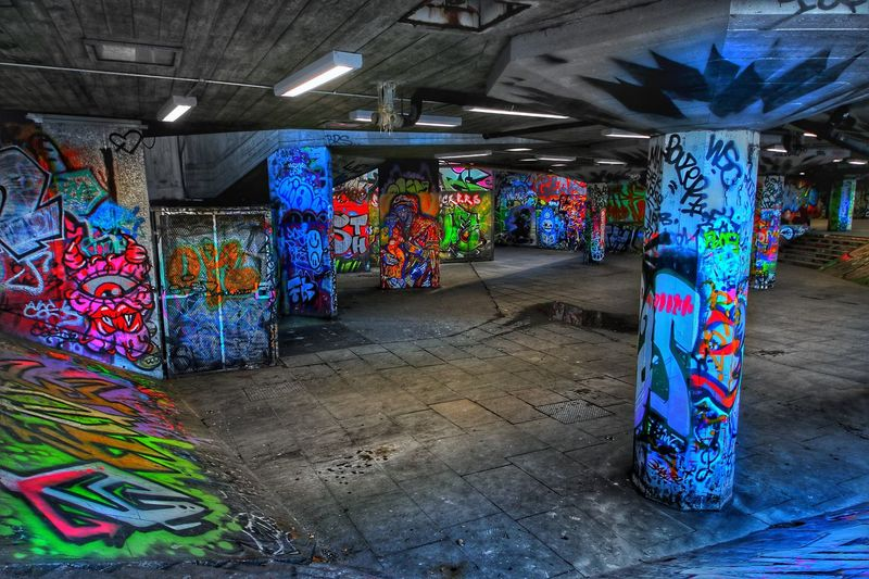 Graffiti Graffiti Multi Colored Street Art Architecture No People Illuminated Indoors  Day