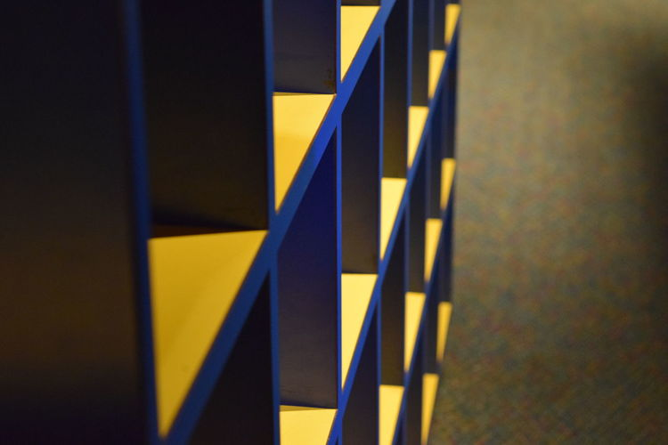 Abstract Blue Close-up Compartment Cupboard Design Modern Multi Colored No People Pigeon Holes Yellow
