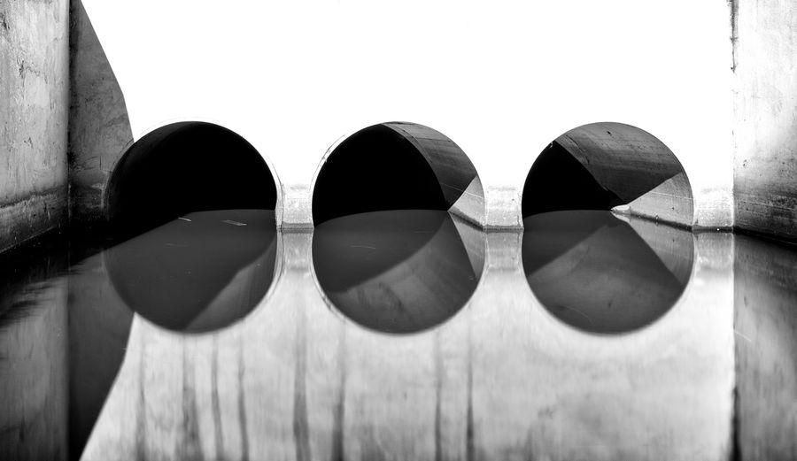 Black & White Concrete No People Reflection Symmetry Urban Water